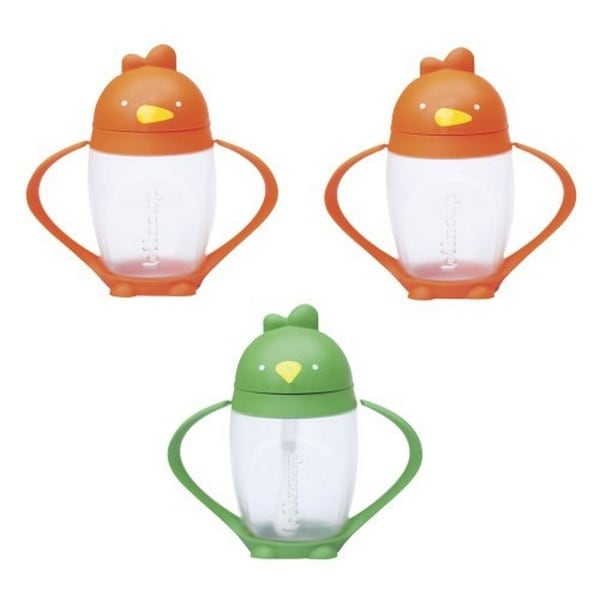 Lollacup Infant And Toddler Straw Cup - 3 Pack - Orange/Green/Orange 27674326