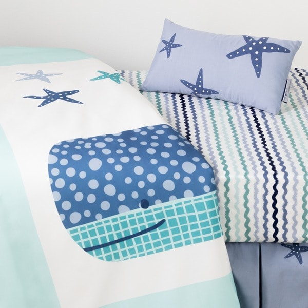 South Shore DreamIt Blue Little Whale 3-Piece Baby Crib Bed Set and Pillow