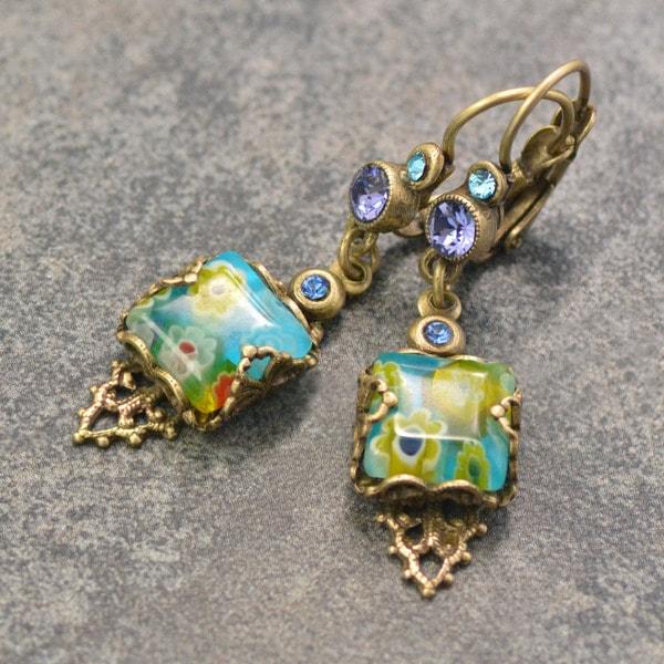 Sweet Romance Millefiori Glass Retro Boho Square Earrings E1382 27674623