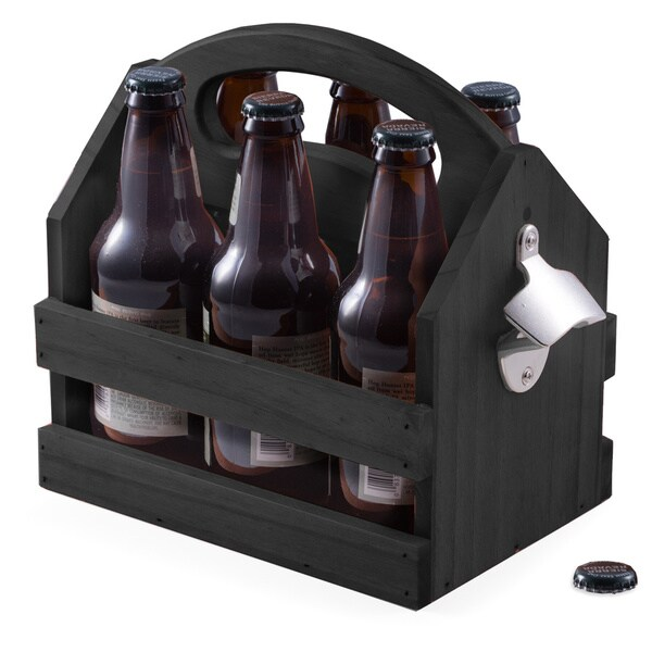 Black Solid Wood Beer Caddy With Bottle Opener 27674788