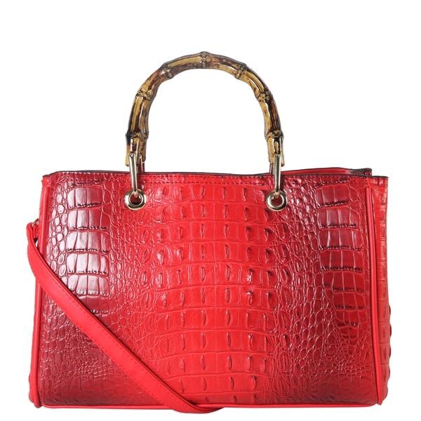 Diophy Crocodile Pattern Structured Satchel Handbag 27676537