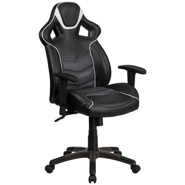 Offex High-back Storm Grey Vinyl Executive Swivel Office Chair with Inner-coil Spring Comfort Seat 27676794