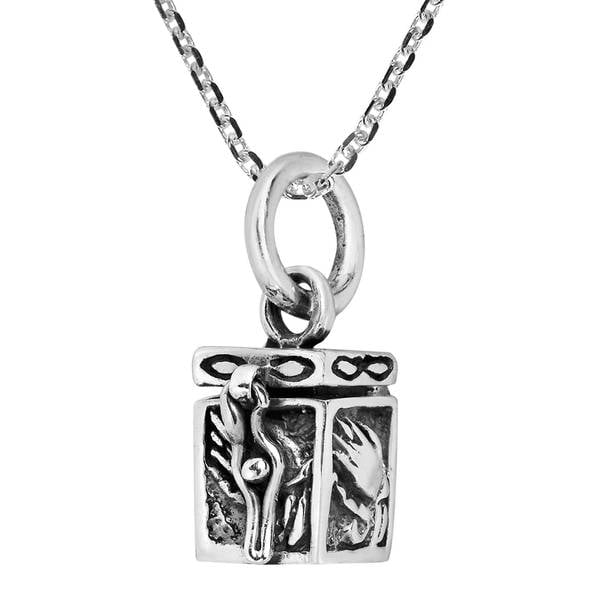 Sterling Silver Prayer Hand Personal Box Locket Necklace (Thailand) 27680402