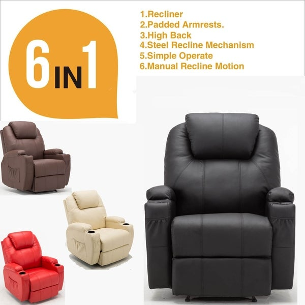 Mcombo Recliner Media Armchair Loung Chair w/Cup Holder 27681593