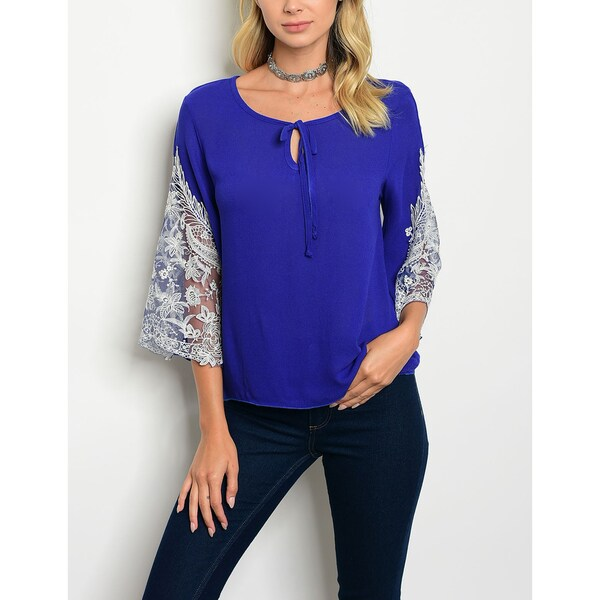 JED Women's Lace Three-Quarter Sleeve Top 27689750
