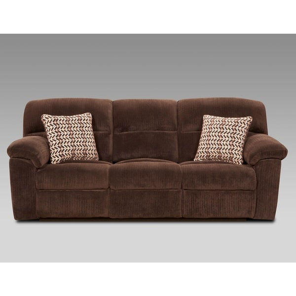 Brown Fabric Reclining Sofa
