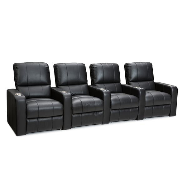 Seatcraft Millenia Black Leather Home Theater 4-seat Power Recliner 27697764