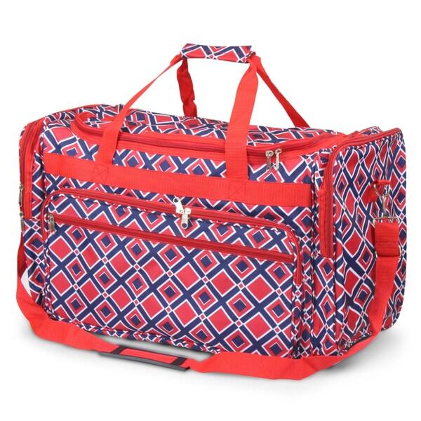 Zodaca Navy/ Red Times Square Large Duffel Travel Bag Overnight Weekend Handbag Camping Hiking Zip Shoulder Carry Bag 27729886