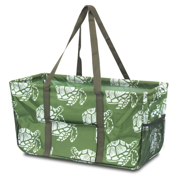 Zodaca Green Turtle All Purpose Wireframe Water Resistant Travel Handbag Laundry Shopping Utility Tote Carry Bag 27729888