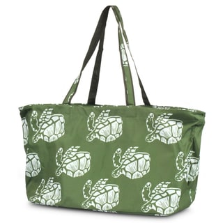 Zodaca Green Turtle Large All Purpose Stylish Magnetic Clasp Open Top Handbag Laundry Shopping Utility Tote Carry Bag