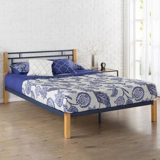 Priage by Zinus Blue Metal and Wood Platform Bed