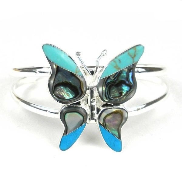 Handcrafted Turquoise & Abalone Butterfly Small Cuff Bracelet (Mexico) 27740642