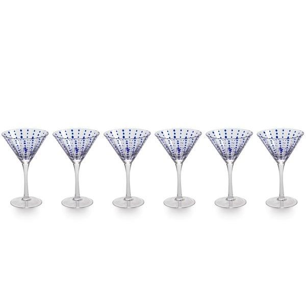 Zodax 7-Inch Tall Mavi Martini Glasses, Set of 4