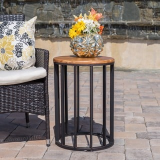 Canary Outdoor Acacia Wood Round Accent Table by Christopher Knight Home