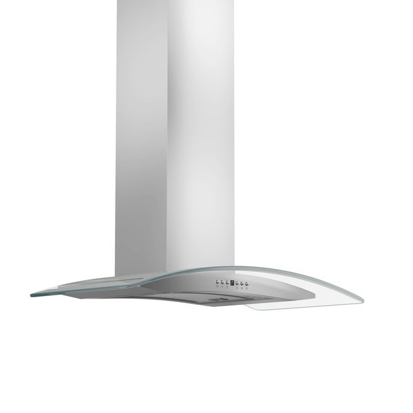 ZLINE 36 in. 400 CFM Wall Mount Range Hood in Stainless Steel & Glass (KN4-36-400) - Silver 27766110