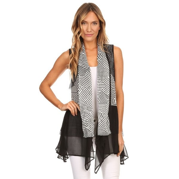 High Secret Women's Black and White Geometric Print Loose Fit Open Front Vest Cardigan 27774363