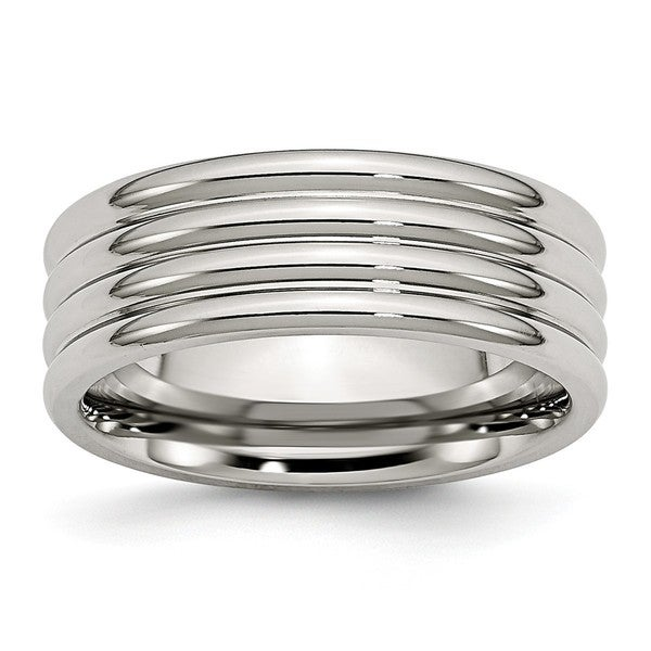 Stainless Steel Grooved 8mm Polished Band 27778210