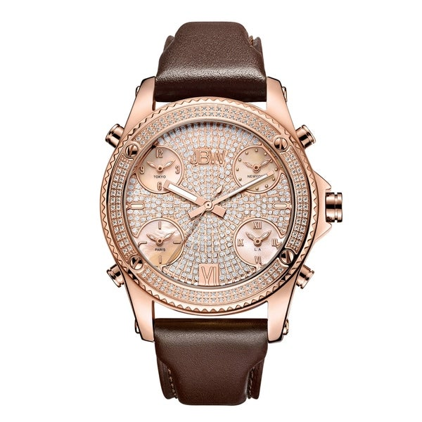 JBW Men's J6354C Jet Setter 1.36 ctw 18K Rose Gold-Plated Stainless Steel Diamond Watch - Two-Tone 27789035