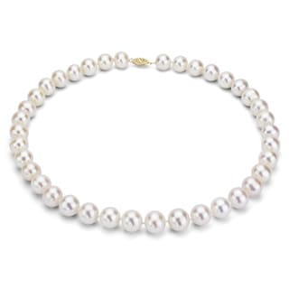 DaVonna 14k 10-11mm White Freshwater Cultured Pearl Strand Necklace (16-36 inches)