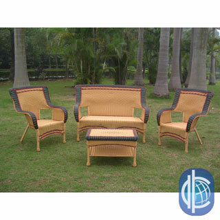 International Caravan Four-piece Wicker Square-back Patio Set
