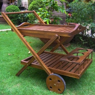 International Caravan Acacia Wood Bar Trolley