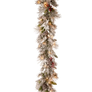 National Tree Company 9' Snowy Bedford Pine Christmas Garland with Battery Operated LED Lights