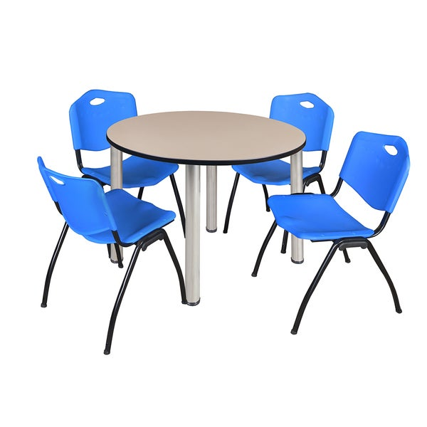 """Kee 48"""" Round Breakroom Table- Chrome & 4 'M' Stack Chairs- Blue 27822022"""