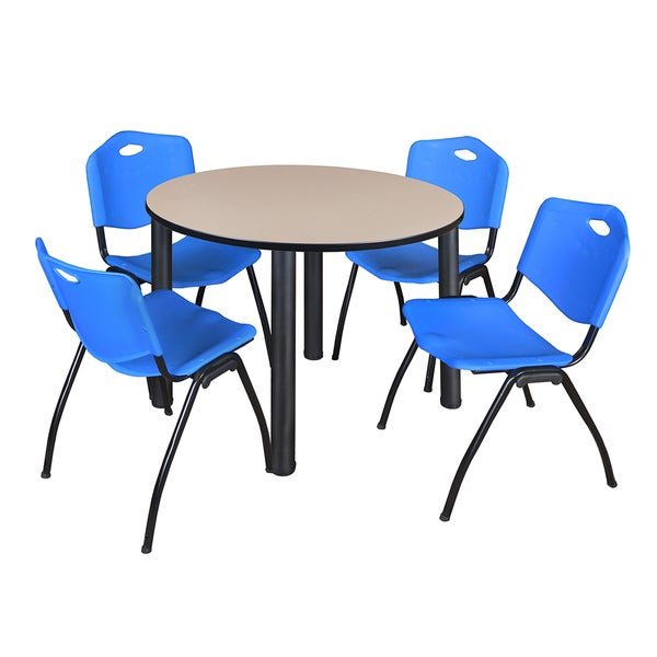 """Kee 48"""" Round Breakroom Table- Black & 4 'M' Stack Chairs- Blue 27822332"""