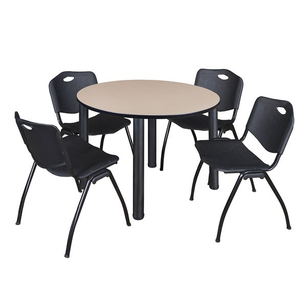 """Kee 48"""" Round Breakroom Table- Black & 4 'M' Stack Chairs- Black 27822565"""