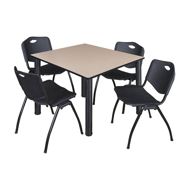 """Kee 48"""" Square Breakroom Table- Black & 4 'M' Stack Chairs- Black 27822807"""