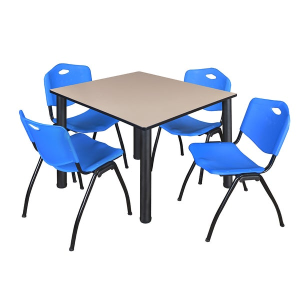 """Kee 48"""" Square Breakroom Table- Black & 4 'M' Stack Chairs- Blue 27822818"""