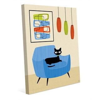 Retro Blue Chair Black Cat Wall Art Canvas Print