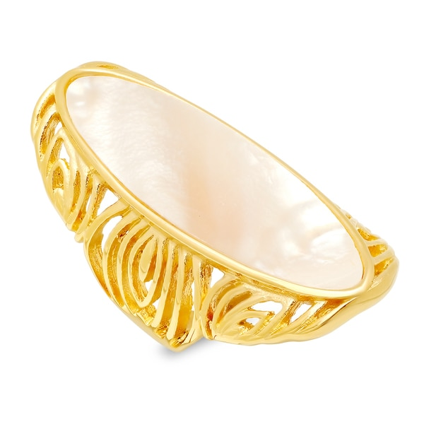 Stainless Steel Mother of Pearl Knuckle Ring - Gold 27824281