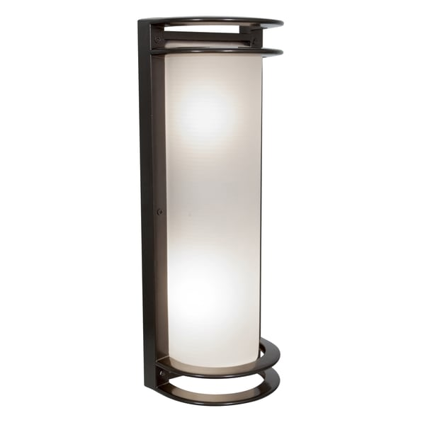 Access Lighting Nevis 2-light 17-inch Bronze Outdoor Wall Light with Ribbed Frosted Glass 27824294