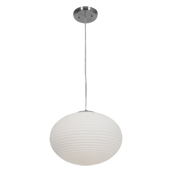 Access Lighting Callisto 2-light Fluorescent Brushed Steel Pendant with Opal Glass 27824311