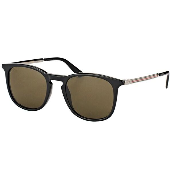 Gucci Unisex GG 0136S 001 Black Frame Brown Lens Square Sunglasses -  GG_0136S_001