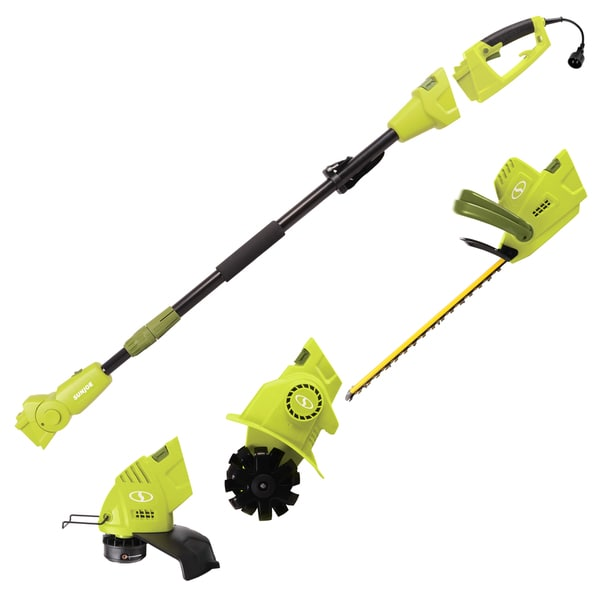 Sun Joe Lawn + Garden Multi-Tool System (Hedge + Pole Trimmer, Grass Trimmer, Garden Tiller)