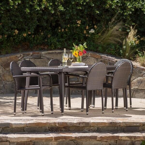 Astor Outdoor 7-piece Rectangular Aluminum Wicker Dining Set by Christopher Knight Home