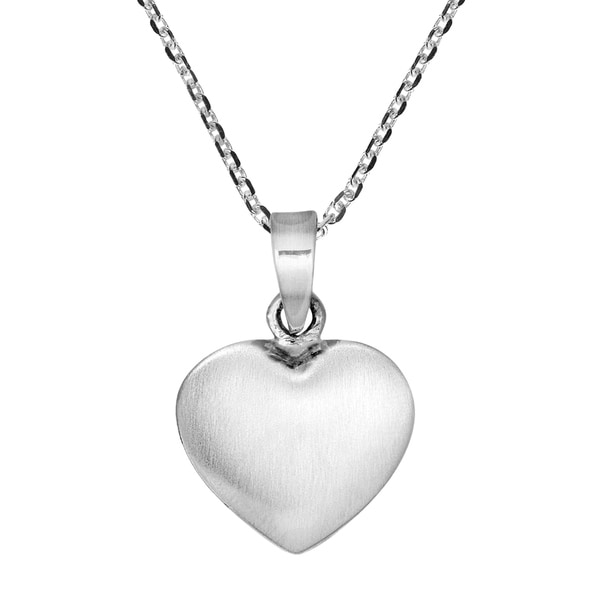Handmade Sweet Puffy Heart Modern Sterling Silver Necklace (Thailand) 27859710