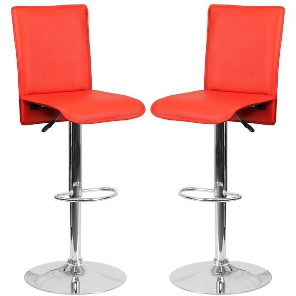 Portugal Red Adjustable Swivel Barstools