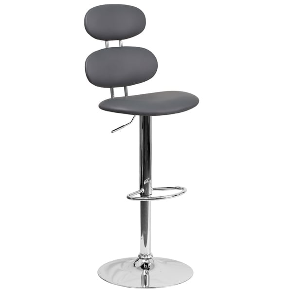 Grey Faux Leather/Chrome Adjustable Swivel Barstool 27862684