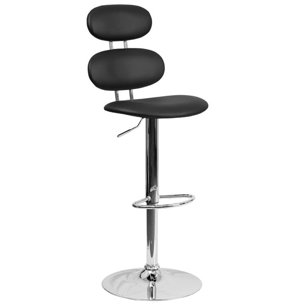 Black Leatherette/Chrome Adjustable Swivel Barstool 27862688
