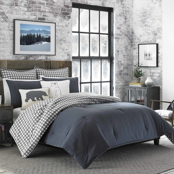 Eddie Bauer Kingston Charcoal Cotton and Flannel Reverse Comforter Set 27874508
