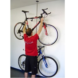 Q-Rak Black Chrome Dual Ceiling to Floor Bike Rack and Storage System