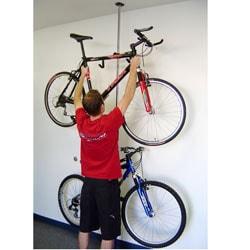 Q-Rak Black Chrome Dual Ceiling to Floor Bike Rack and Storage System