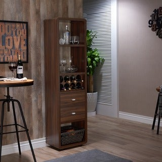 Furniture of America Sity Transitional Walnut Wine Cabinet