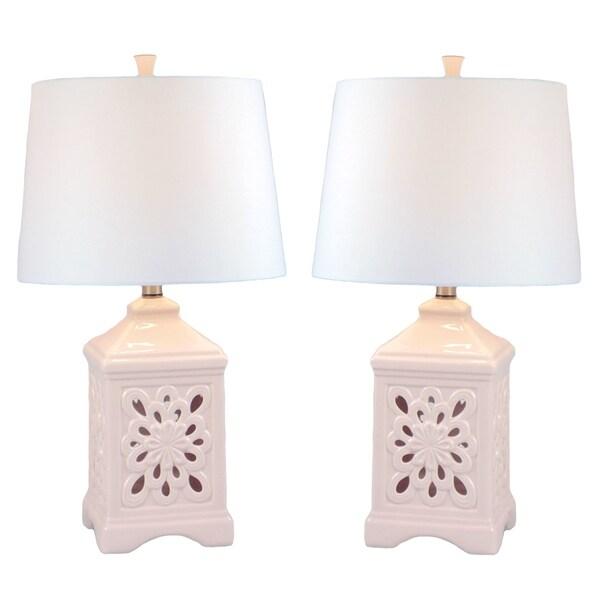 JT Lighting Kire Pink Ceramic/Fabric Table Lamp (Set of 2) 27890613