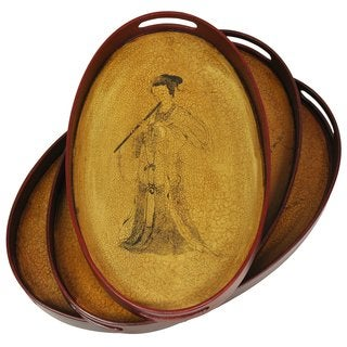 Lady Playing Flute Brown Antique-finish Platter/Tray Set (China)