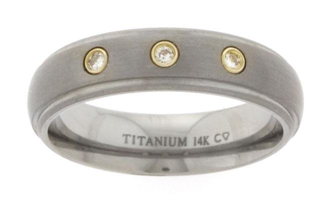 Men's Gold Titanium 14k 1/10ct TDW Round Diamond Band (H-I, I2)