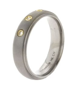 Men's Gold Titanium 14k 1/10ct TDW Round Diamond Band (H-I, I2)
